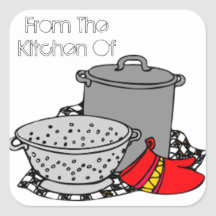 From the Kitchen Of Cooking Pot & Strainer Stickers