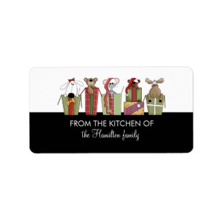 FROM THE KITCHEN OF Critters in Presents Gift Tags Address Label