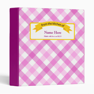 From the Kitchen of Food Label - Pink 3 Ring Binder