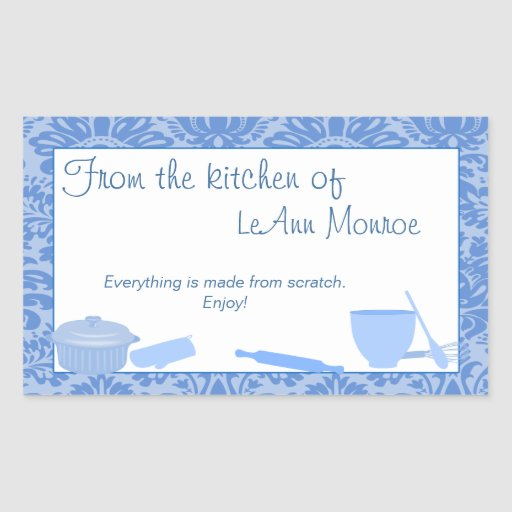 From The Kitchen Of Gift Tag in Blues Rectangle Stickers