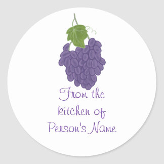 From the kitchen of, Grape Jam Jelly Lid Stickers
