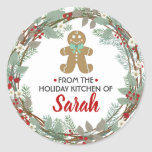 """From the Kitchen of Holiday Baking Stickers<br><div class=""""desc"""">Perfect stickers for all your holiday & Christmas baked goods. Easy to personalize with your name. Red and green Christmas wreath for the perfect final touch to your cookies,  pastries or chocolates.</div>"""