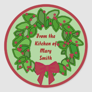 From the Kitchen of ...Holiday Canning Labels Classic Round Sticker