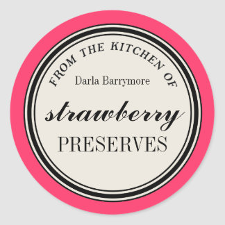 """""""From the Kitchen of"""" Label, Strawberry Preserves Classic Round Sticker"""