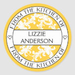 From the Kitchen of Label | Yellow White Damask Classic Round Sticker