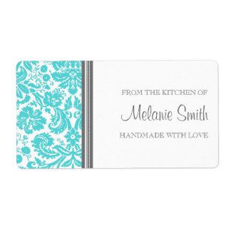 From the Kitchen of Labels Aqua Damask