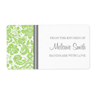 From the Kitchen of Labels Lime Damask