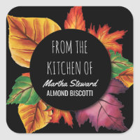From the Kitchen Of Name Autumn Leaves Square Sticker