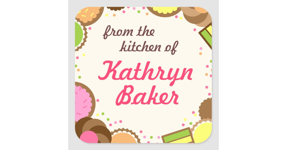 From The Kitchen Of Name Label Assorted Cookies Square Sticker
