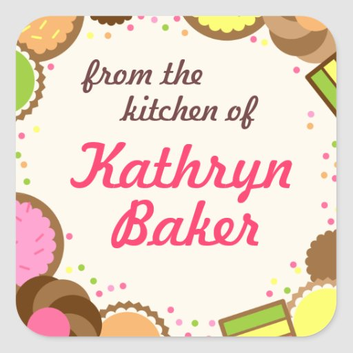 From the Kitchen Of Name Label, Assorted Cookies Square Sticker