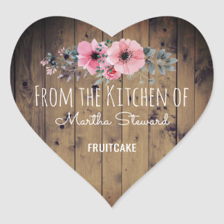 From the Kitchen Of Name Rustic Wood Country Chic Heart Sticker