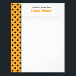 "From the Kitchen of Nana Polka Dot Recipe Page<br><div class=""desc"">Personalize the text for your recipe page! Letterhead paper designed to fit Nana&#39;s Kitchen Recipe Binder,  this has a black and yellow polka dot image along the side. You will need to punch holes along the side of the pages to add this letterhead to a binder.</div>"