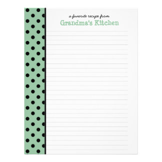 From the Kitchen of Nana Polka Dot Recipe Page Letterhead