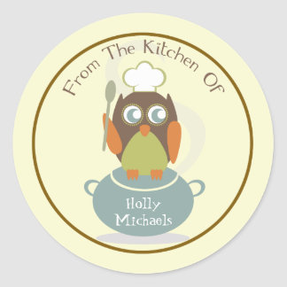 From The Kitchen Of Owl With Chef s Hat Spoon Sticker