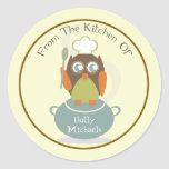From The Kitchen Of...Owl With Chef's Hat & Spoon Sticker