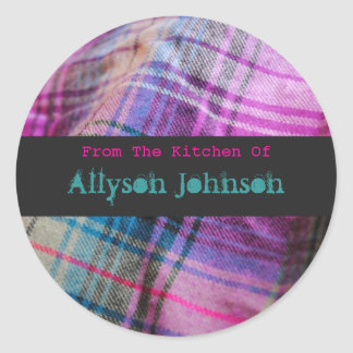 From The Kitchen Of Pink & Teal Plaid Stickers