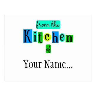 From the Kitchen of Retro Blue Green Custom Postca Postcard