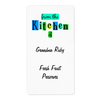 From the Kitchen of Retro Blue Green Recipe Label Shipping Label