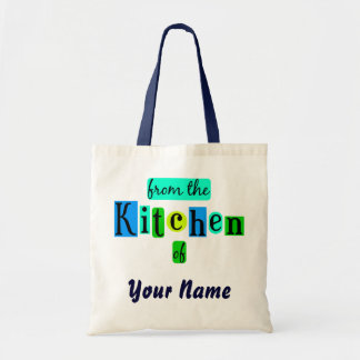 From the Kitchen of Retro Blues Custom Canvas Tote Budget Tote Bag