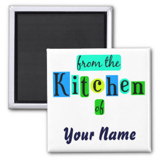From the Kitchen of Retro Blues Fridge Magnet