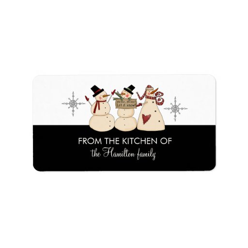 FROM THE KITCHEN OF Snowmen Gift Tags Custom Address Label