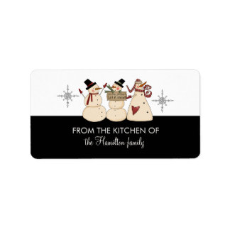 FROM THE KITCHEN OF Snowmen Gift Tags Address Label