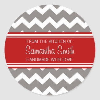 From the Kitchen of Sticker Red Grey Chevron