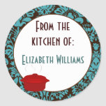 From The Kitchen of Teal Brown Damask Stickers