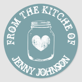 From the kitchen of teal vintage mason jar sticker