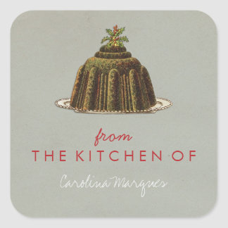 From the Kitchen of Vintage Christmas Pudding Square Sticker