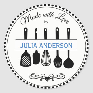 From the Kitchen Utensils Personalized Classic Round Sticker