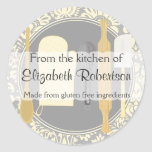 From The Kitchen Yellow Damask Classic Round Sticker
