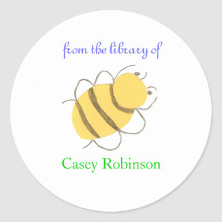"""""""From the library of"""" bee bookplate sticker"""