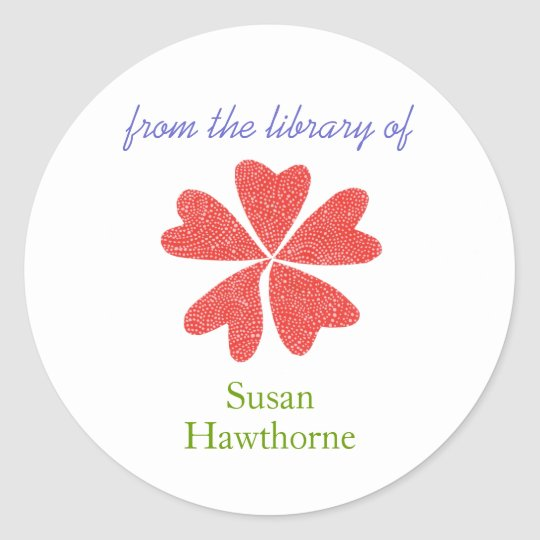 """From the library of"" blooming heart bookplate"