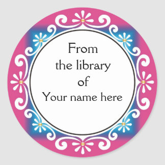 From The Library Of Bookplates - White Swirls Round Sticker