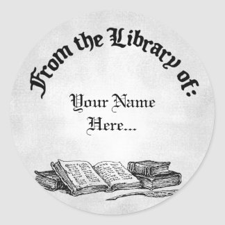 From the Library of Books Quill Custom Bookplate Classic Round Sticker