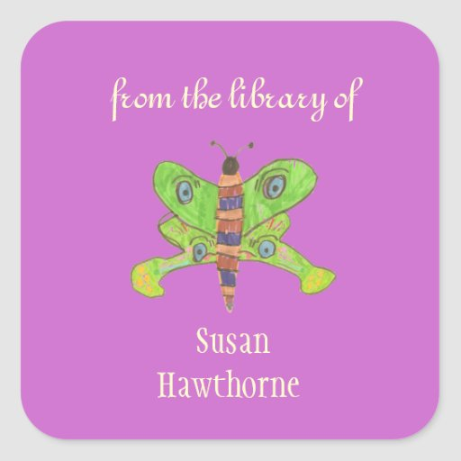 """""""From the library of"""" butterfly custom bookplates Sticker"""