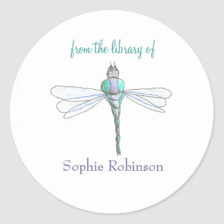 """""""From the library of"""" dragonfly bookplate sticker"""