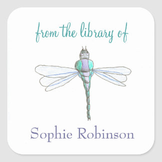 """From the library of"" dragonfly custom bookplates"