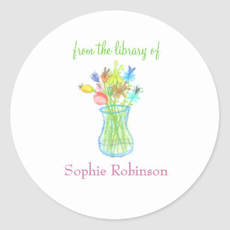 """From the library of"" floral bookplate sticker"