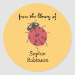"""""""From the library of"""" ladybug bookplate Classic Round Sticker"""