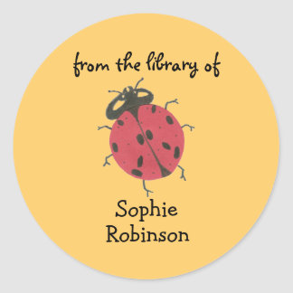 """""""From the library of"""" ladybug bookplate Sticker"""