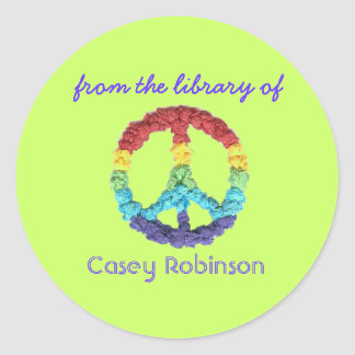 """""""From the library of"""" peace sign bookplate"""