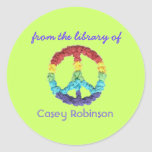 """""""From the library of"""" peace sign bookplate Classic Round Sticker"""