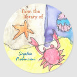 """From the library of"" seascape bookplate Round Stickers"