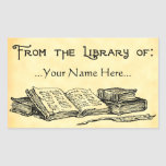 From the Library of Vintage Books Custom Bookplate Rectangular Sticker