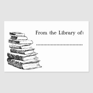 From the Library of Vintage Custom Bookplate Rectangular Sticker