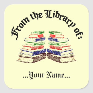 From the Library of Vintage Custom Bookplate Square Sticker