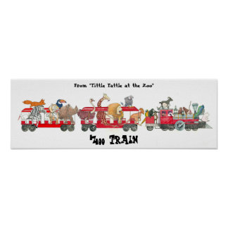 """From """"Tittle Tattle at the Zoo"""", Zoo Train Poster"""