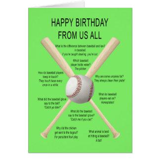 From us all, birthday baseball jokes card